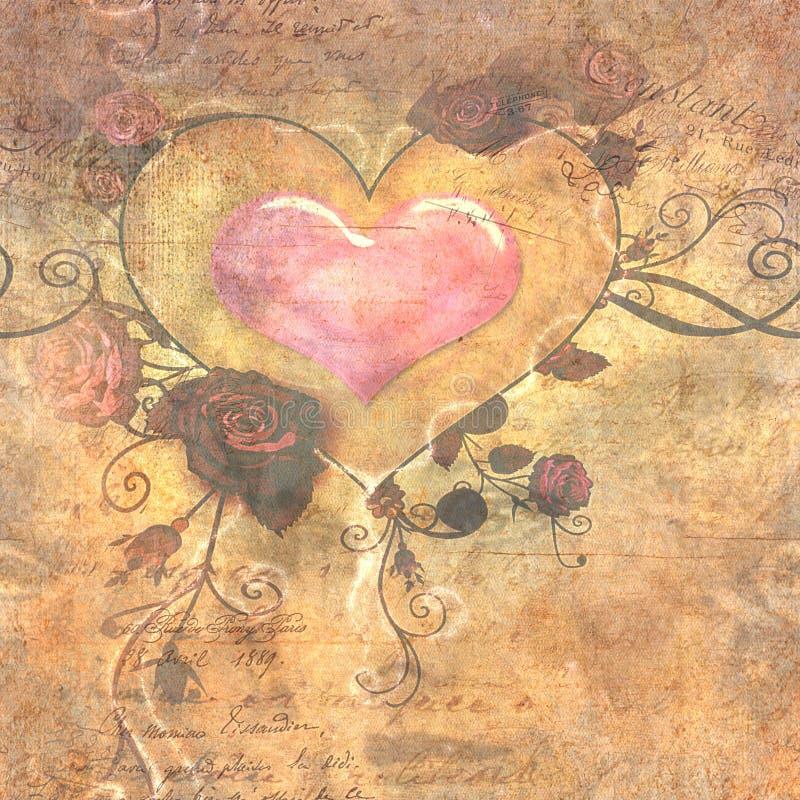 心脏和罗斯葡萄酒纸 向量例证