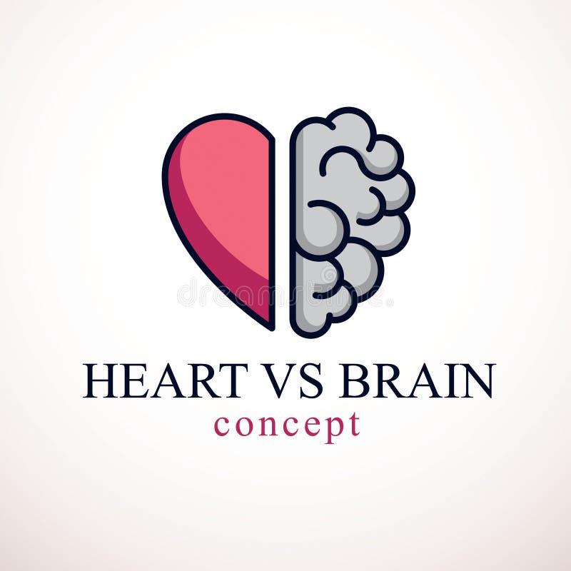 心脏和脑子概念,在情感和合理的认为,配合和平衡之间的冲突在灵魂和智力之间 库存例证