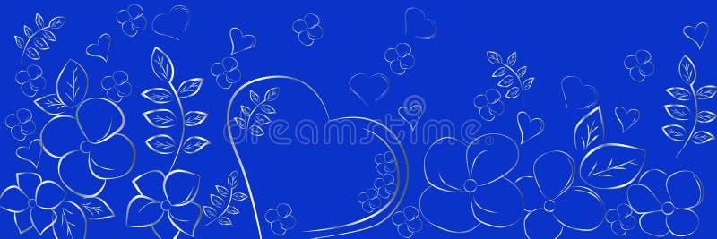心脏和花剪影在蓝色背景 美好的抽象全景背景 皇族释放例证