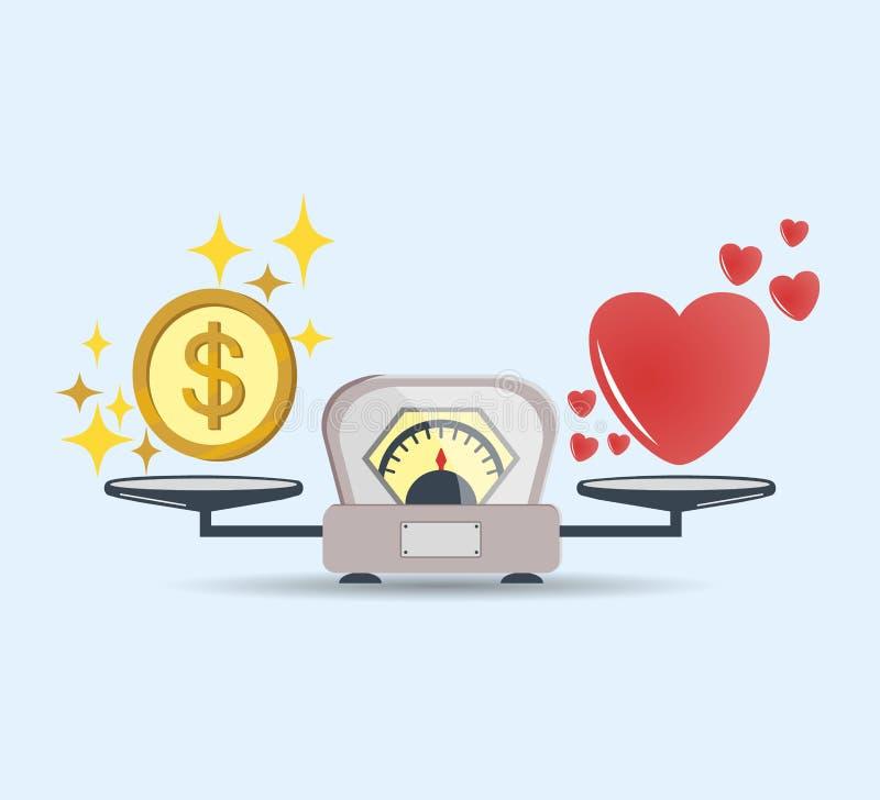 心脏和金钱标度象的 金钱和爱平衡在标度 挑选概念 与爱和金钱硬币的标度 向量 皇族释放例证