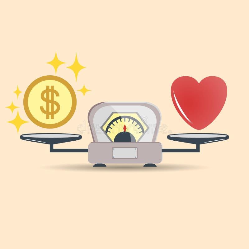 心脏和金钱标度象的 金钱和爱平衡在标度 概念选择 与爱和金钱硬币的标度 向量 库存例证