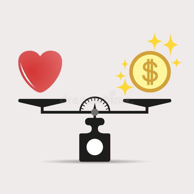 心脏和金钱标度象的 金钱和爱平衡在标度 概念 与爱和金钱硬币的标度 向量 库存例证