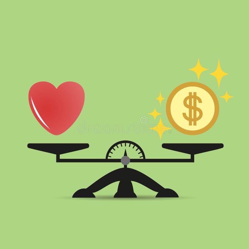 心脏和金钱标度象的 金钱和爱平衡在标度 概念 与爱和金钱硬币的标度 向量 皇族释放例证