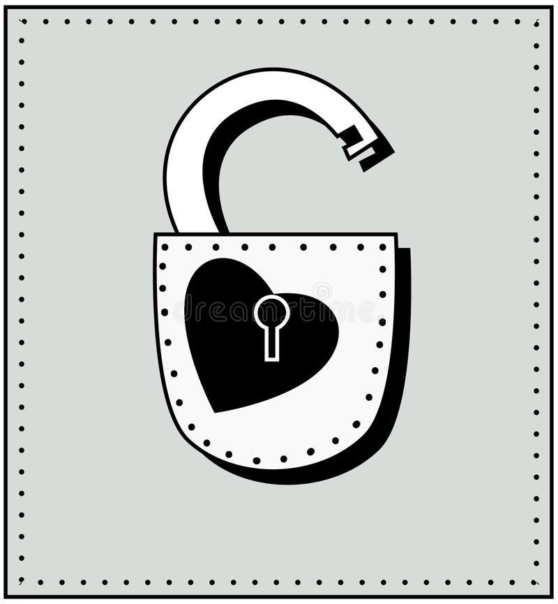 心脏和锁 库存例证