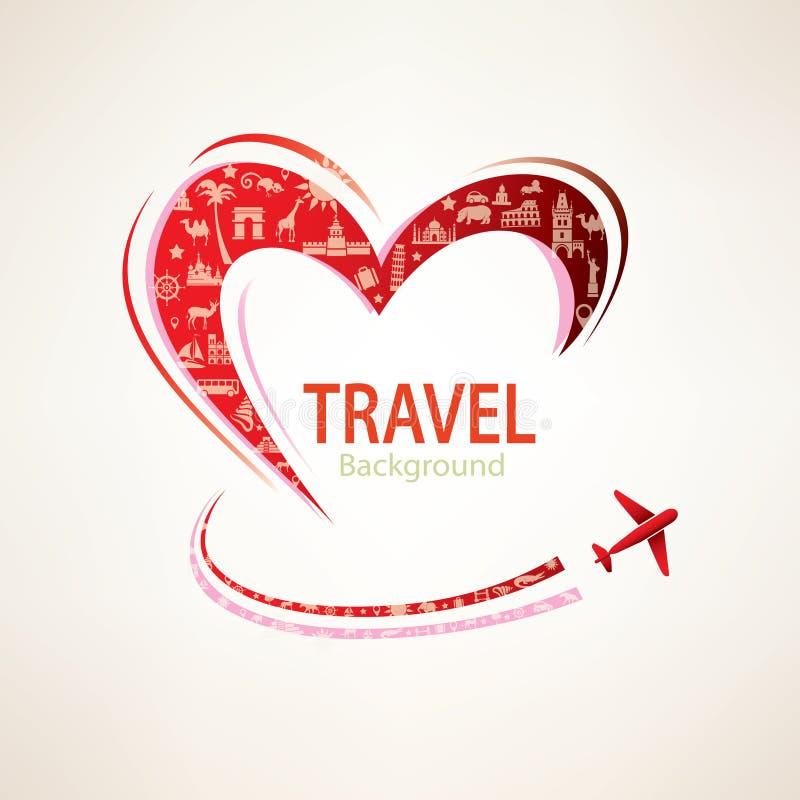 心脏和飞机有套的旅行象 皇族释放例证