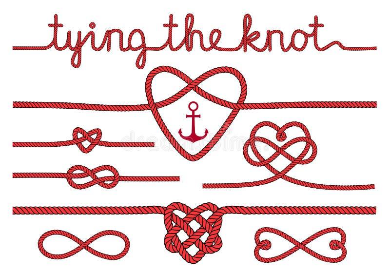 绳索心脏和结,传染媒介集合 库存例证