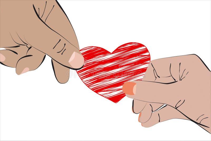 心脏在两只手上 库存例证