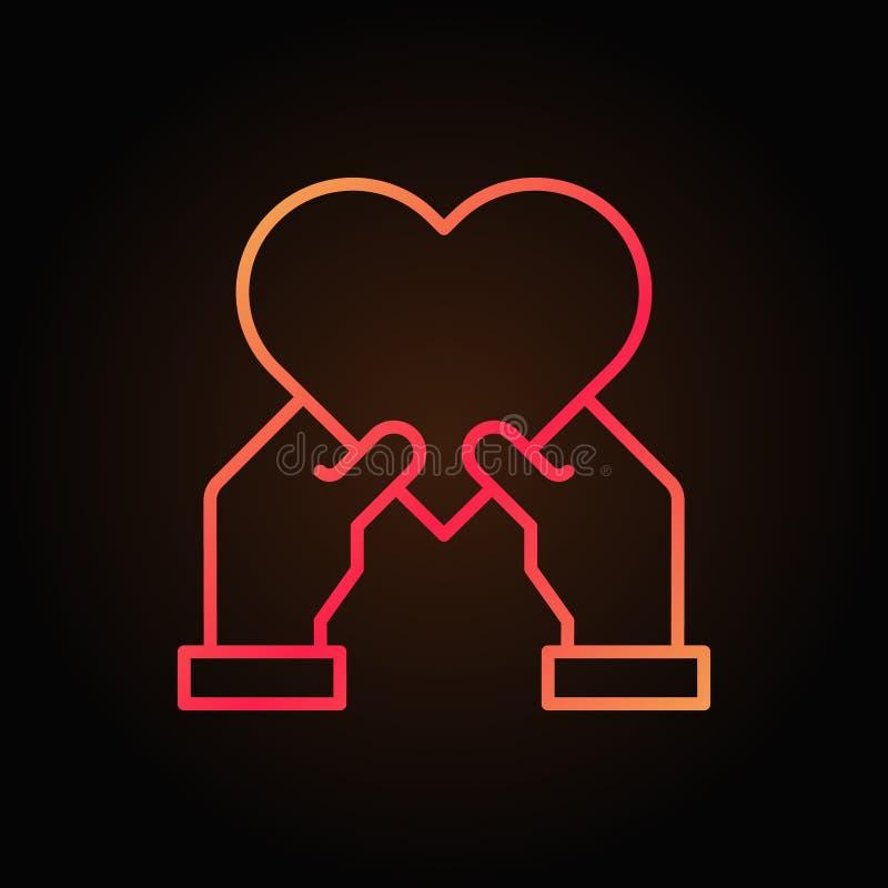 心脏在人的手上导航红线象或标志 向量例证