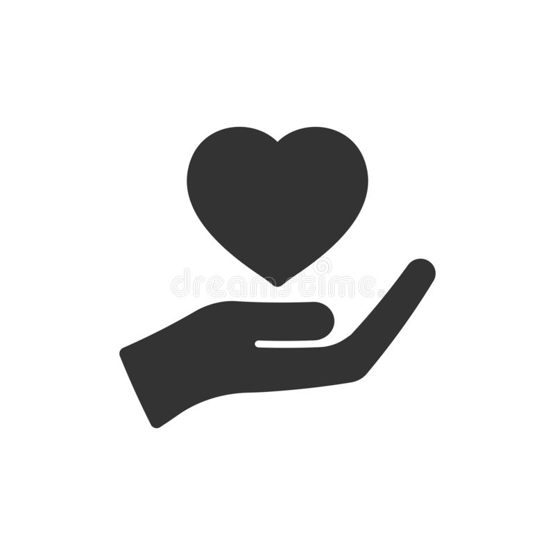 心脏在平的样式的关心象 慈善在白色被隔绝的背景的传染媒介例证 爱手中企业概念 皇族释放例证
