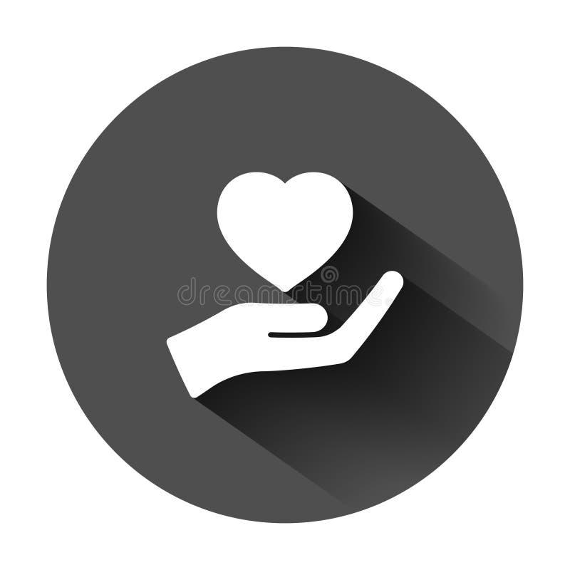 心脏在平的样式的关心象 慈善在黑圆的背景的传染媒介例证与长的阴影 爱手中事务 向量例证