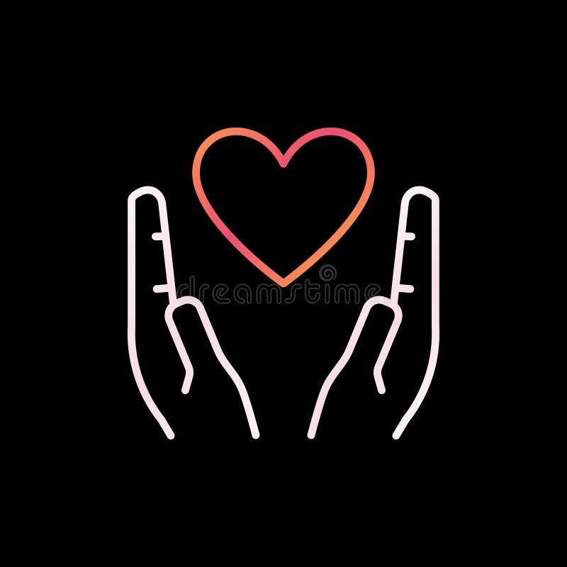 心脏在手上概述五颜六色的象 传染媒介爱线性标志 库存例证