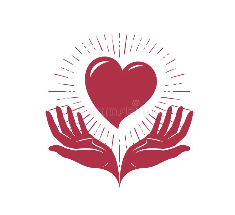 心脏在手上,商标 爱、慈善标签或者标志 也corel凹道例证向量 库存例证