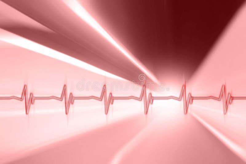 心脏在红色行动的脉冲样式弄脏了背景 免版税库存图片