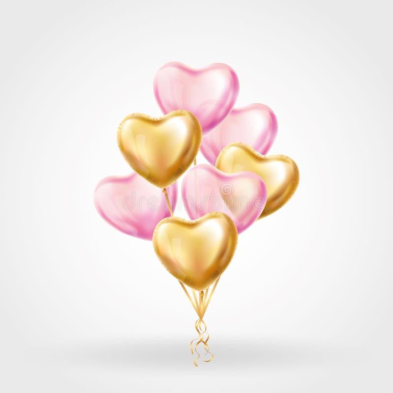 心脏在背景的金气球 皇族释放例证