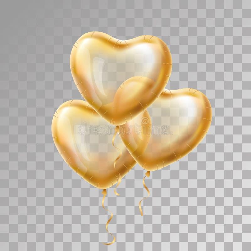心脏在背景的金气球 库存例证