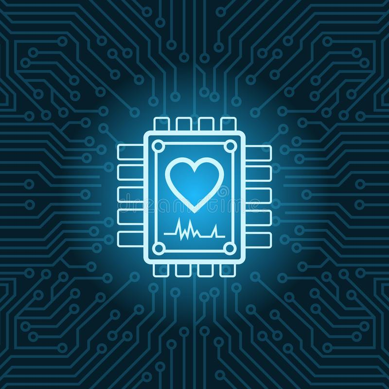 心脏在芯片的形状象在蓝色电路主板背景 向量例证