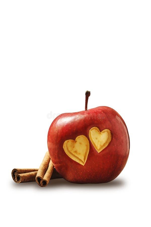 心脏在苹果计算机中 免版税库存图片