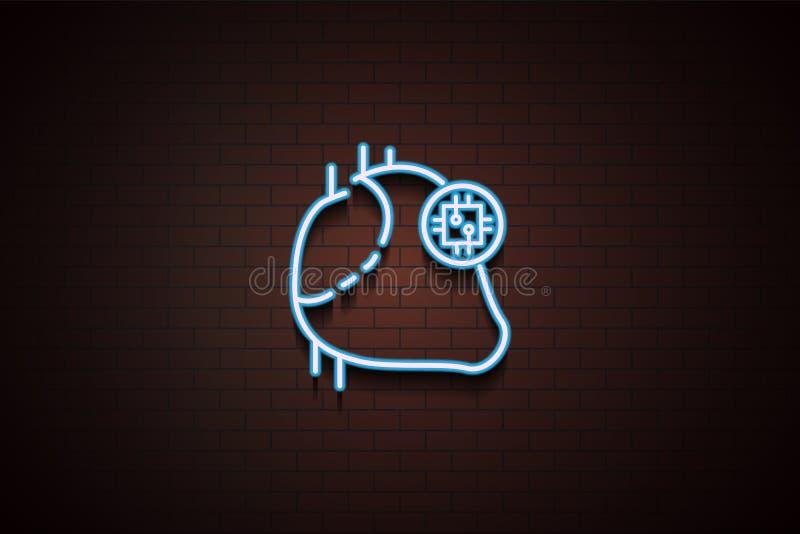 心脏在霓虹样式的芯片象 皇族释放例证