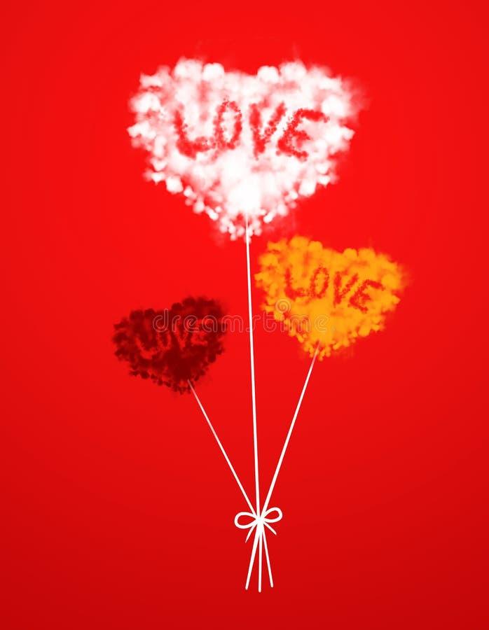 心脏在颜色背景的云彩气球 图库摄影