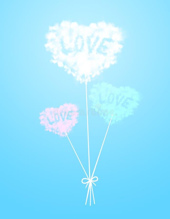 心脏在颜色背景的云彩气球 皇族释放例证