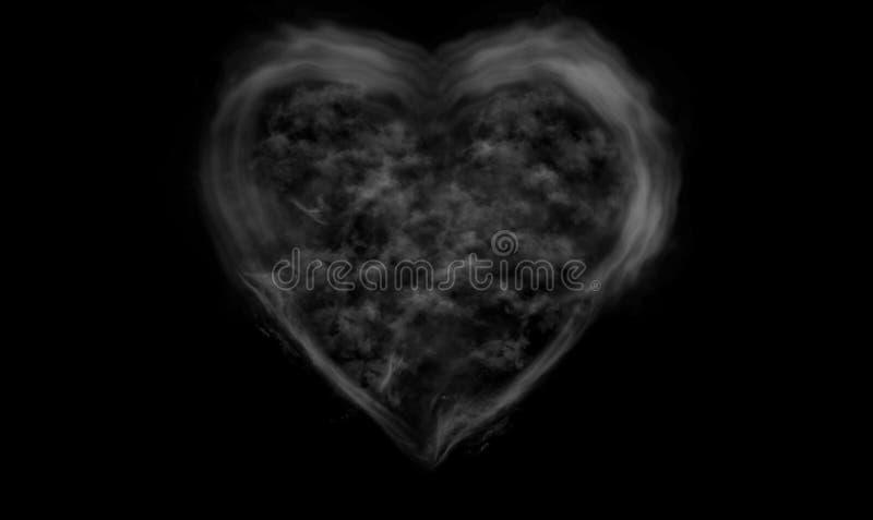 心脏在黑背景的形状烟 免版税图库摄影