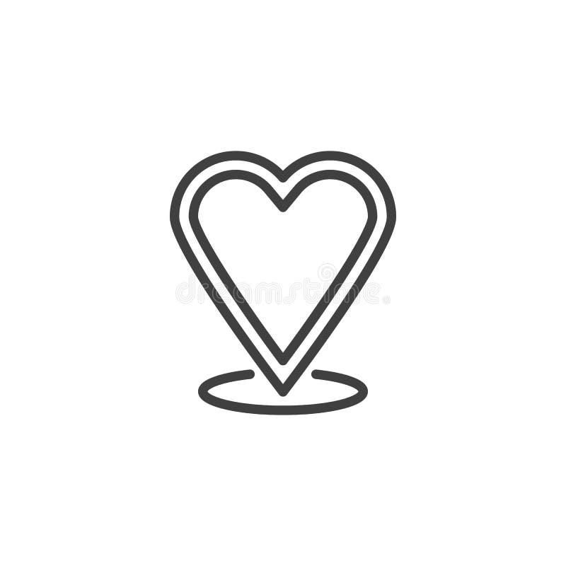 心脏地图标志线象 皇族释放例证