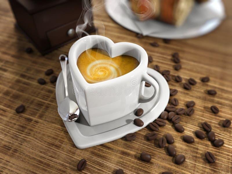 心脏形状咖啡 免版税库存图片