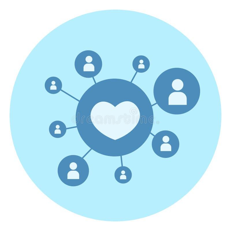 心脏形状喜欢在蓝色背景社会媒介连接概念的象 库存例证