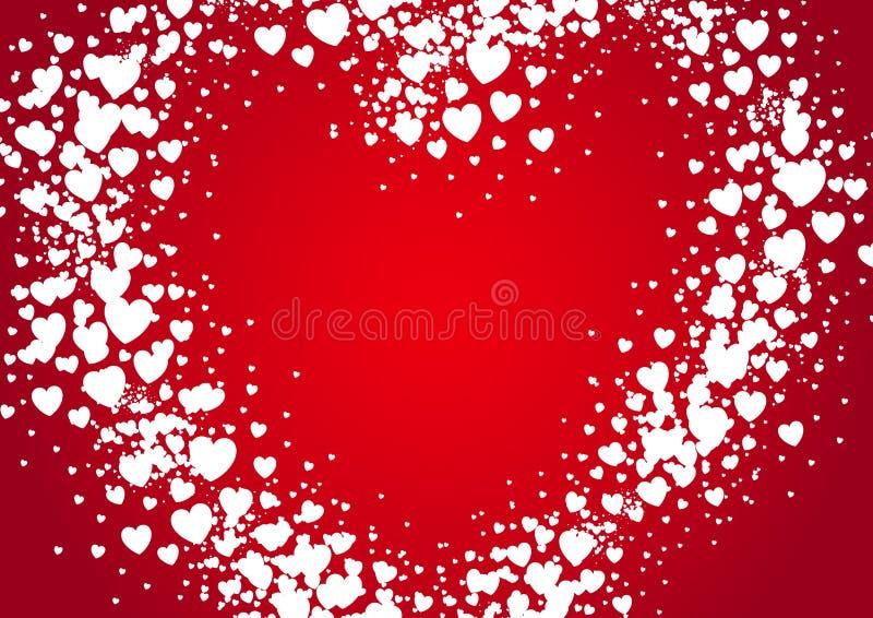 心脏形状情人节卡片浪花绘与任意消散听见 向量例证