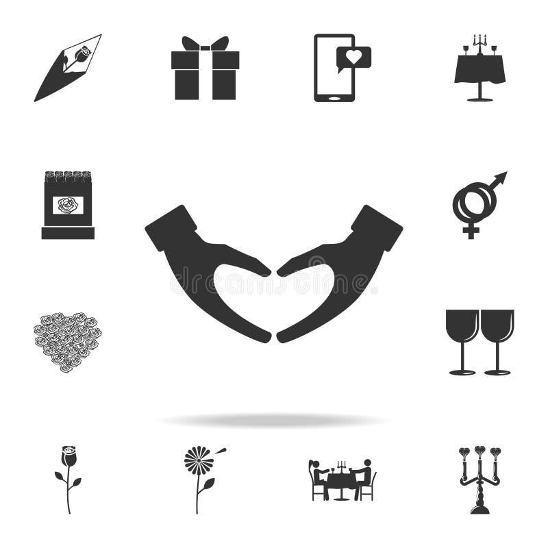 心脏形状手势象 详细的爱象的套标志和元素 优质质量图形设计 一collec 向量例证