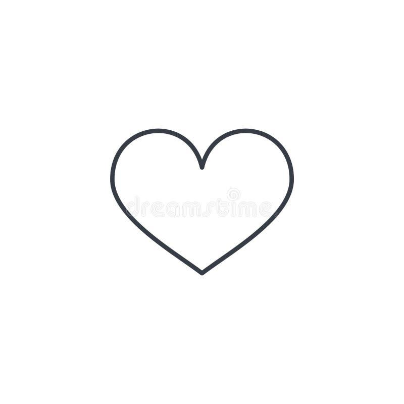 心脏形状稀薄的线象 线性传染媒介标志 库存例证