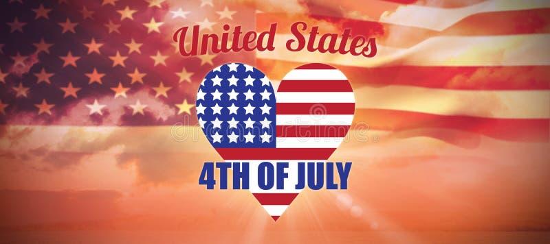 心脏形状美国国旗的数位引起的图象的综合图象与文本的 库存例证