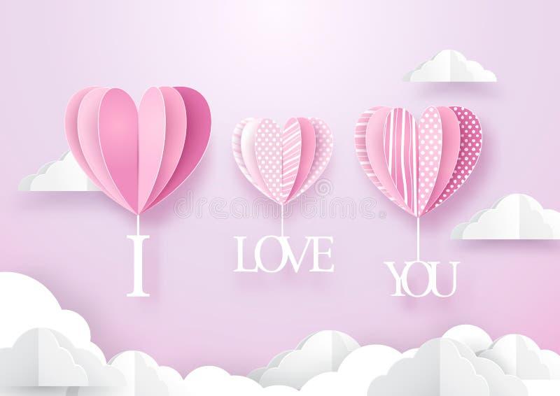 心脏形状迅速增加垂悬与我爱你词在天空 向量例证