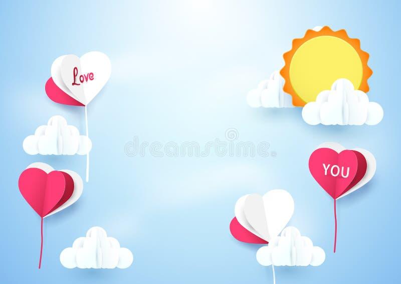 心脏形状迅速增加飞行天空有太阳背景 库存例证