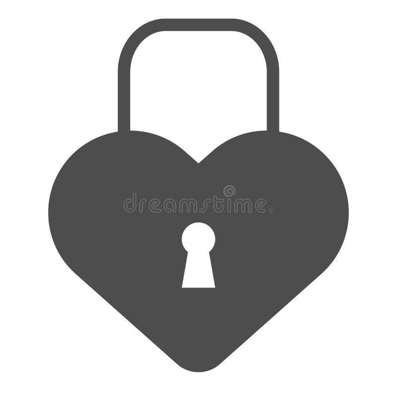 心脏形状锁固体象 爱挂锁在白色隔绝的传染媒介例证 闭合的锁纵的沟纹样式设计 皇族释放例证