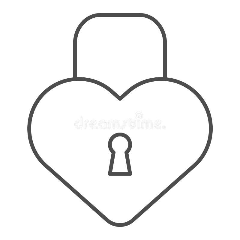心脏形状锁稀薄的线象 爱挂锁在白色隔绝的传染媒介例证 闭合的锁概述样式设计 库存例证