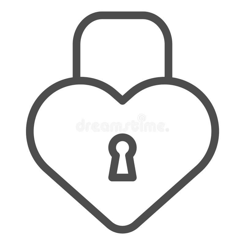 心脏形状锁线象 爱挂锁在白色隔绝的传染媒介例证 闭合的锁概述样式设计 库存例证