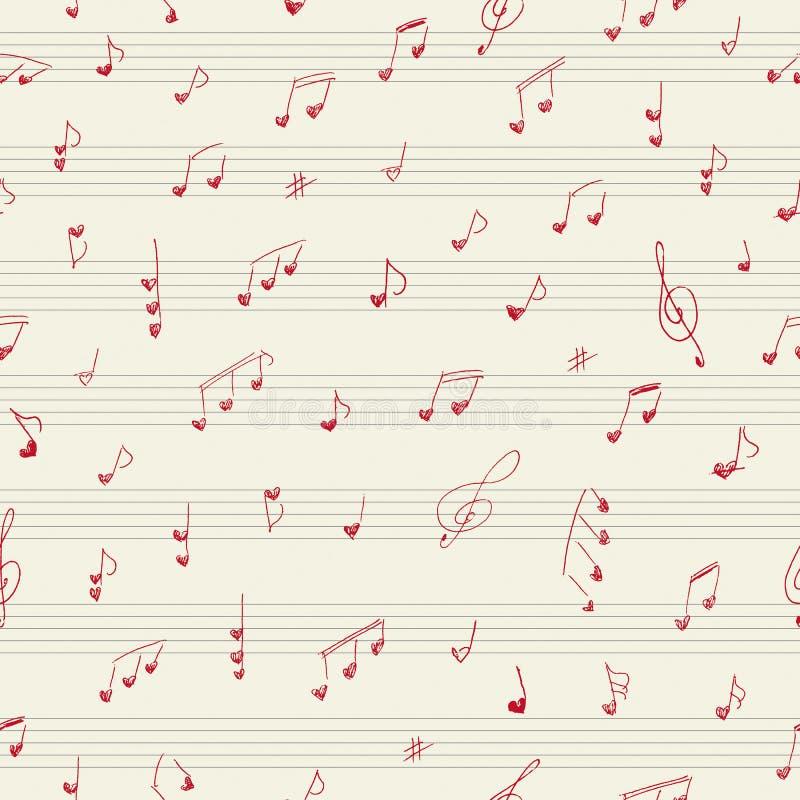 心脏形状音乐家笔记 无缝的模式 向量例证