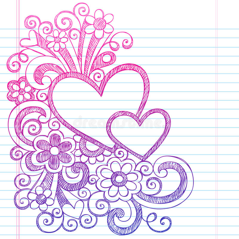 心脏情人节概略乱画传染媒介例证 向量例证
