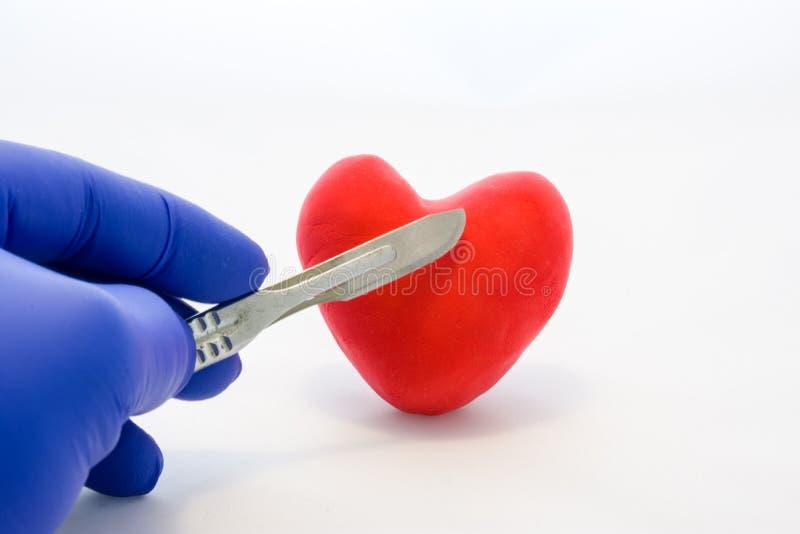 心脏或心脏病心血管手术概念照片 举行在手套的手解剖刀的医生在心脏附近红牌形象  Treatm 免版税图库摄影