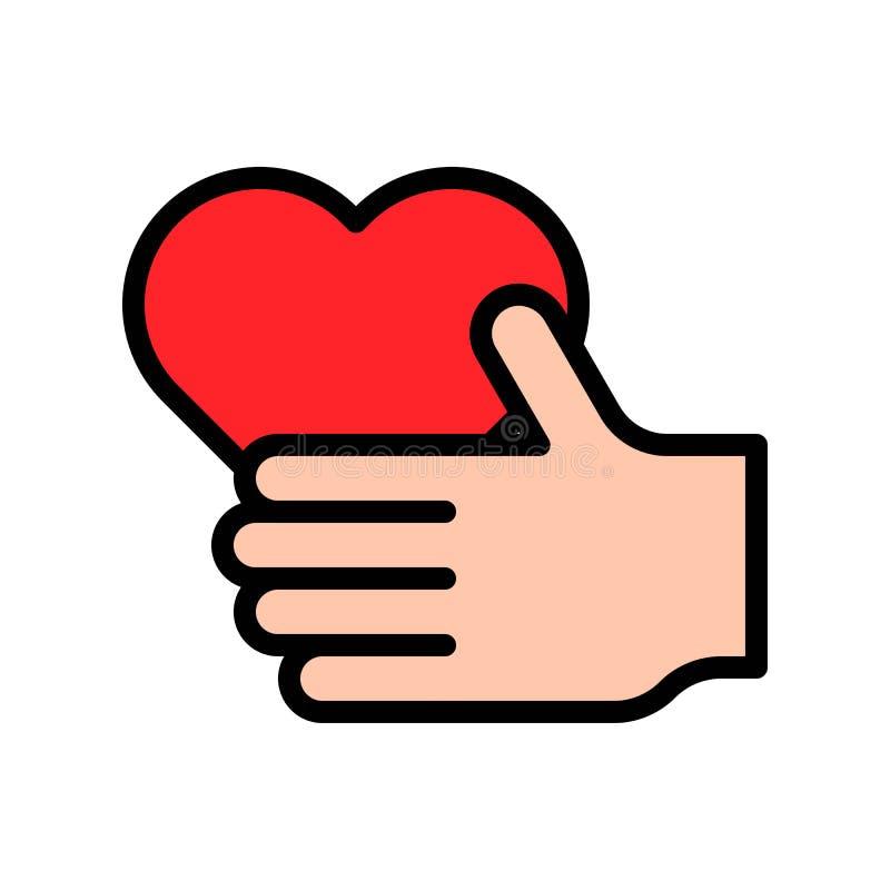 心脏手中传染媒介例证,填装了样式象编辑可能的概述 皇族释放例证