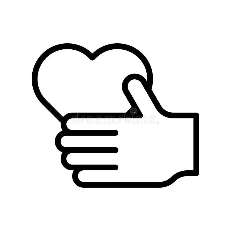 心脏手中传染媒介例证,线型象编辑可能的概述 库存例证