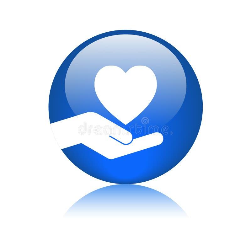 心脏手中商标蓝色 向量例证