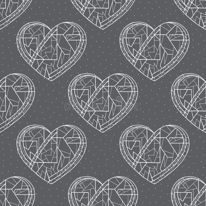 心脏手拉的传染媒介无缝的样式 重点 表面设计的,纺织品,包装纸爱纹理, 库存例证