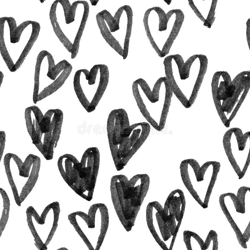 心脏手拉的传染媒介剪影的样式 无缝的心脏艺术背景手拉由标志或毡尖的笔图画 向量例证