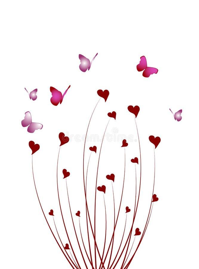 心脏抽象蝴蝶灌木丛  向量例证