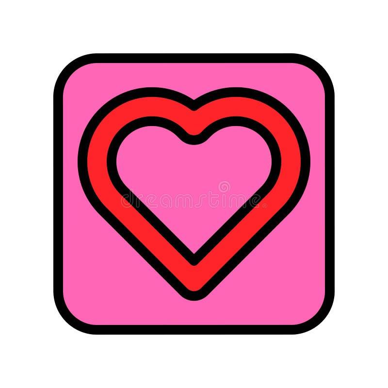 心脏按钮传染媒介例证,填装了样式象编辑可能的概述 向量例证