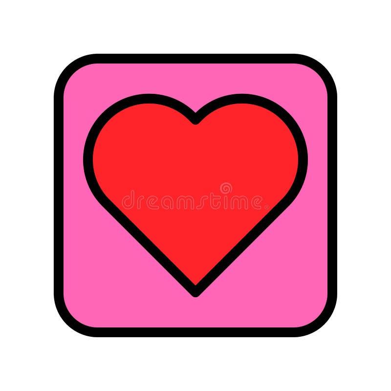 心脏按钮传染媒介例证,填装了样式象编辑可能的概述 库存例证