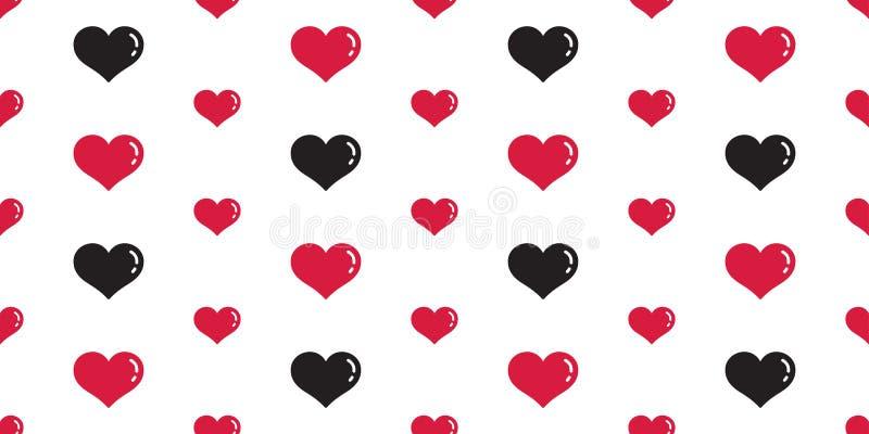 心脏无缝的样式传染媒介情人节隔绝了墙纸背景黑色红色 皇族释放例证