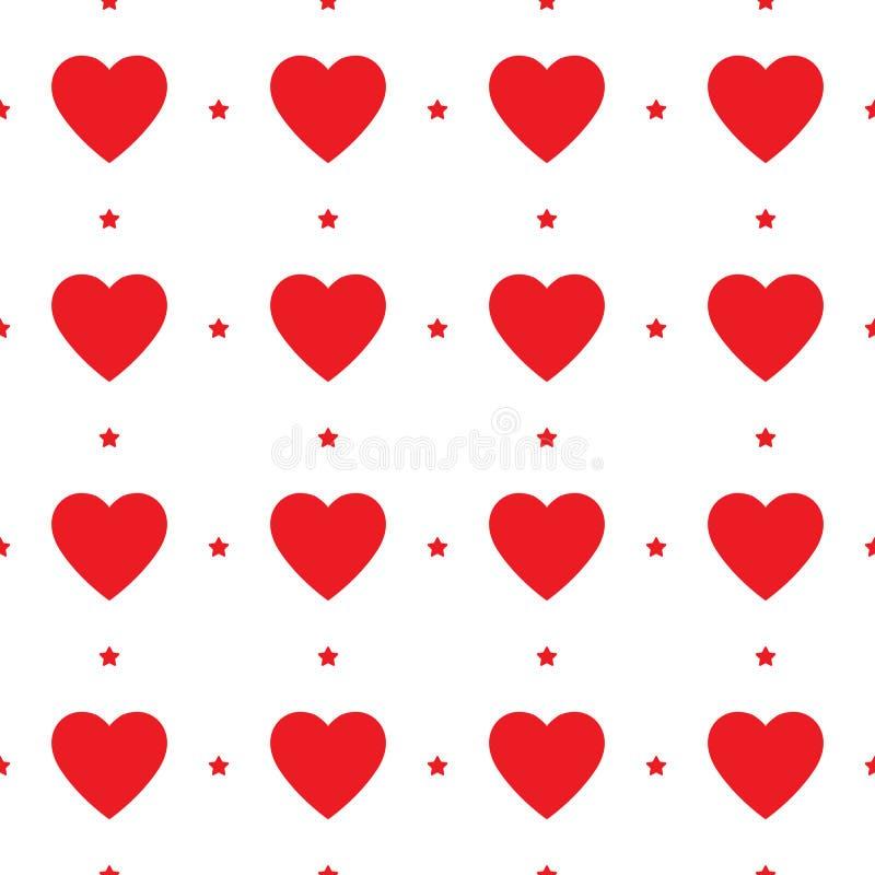 心脏无缝的样式,不尽的纹理 在白色背景,传染媒介例证的红心 华伦泰`s日模式 向量例证